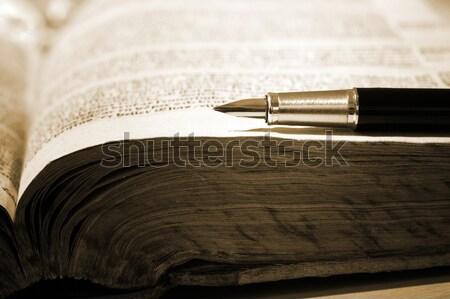 Libro viejo pluma negocios papel estudiante estudio Foto stock © mikdam