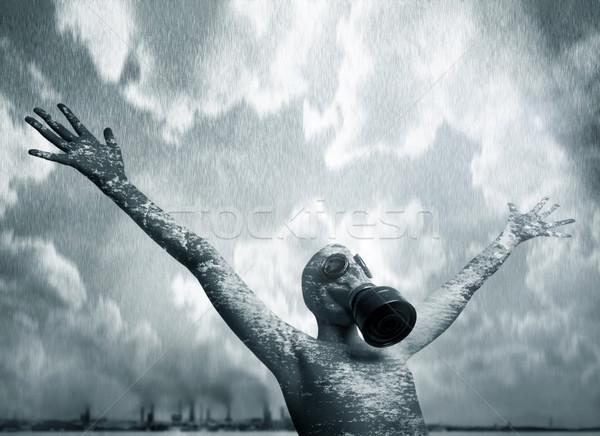 Menino máscara cidade chuva fumar fábrica Foto stock © mikdam