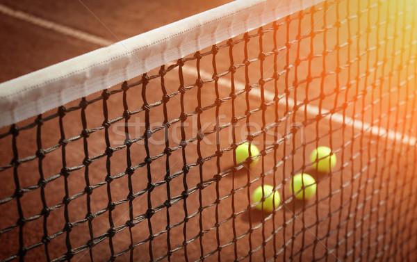 Tennisbal tennisbaan fitness sport tennis bal Stockfoto © mikdam