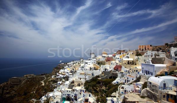 Santorini Blauw reizen boot architectuur witte Stockfoto © mikdam