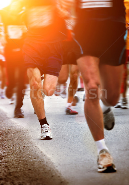 Futók maraton bemozdult út sport utca Stock fotó © mikdam