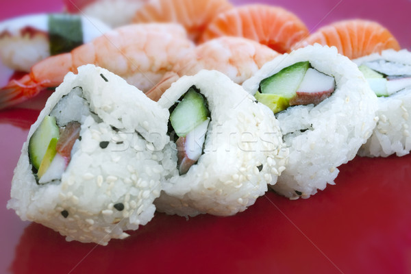 sushi with differend kinds of fresh fish Stock photo © mikdam