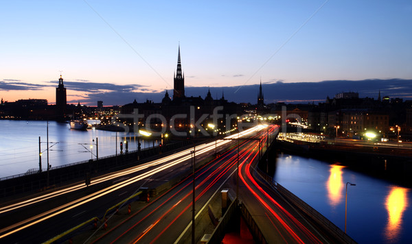 Stockholm gece yol soyut turuncu hızlandırmak Stok fotoğraf © mikdam