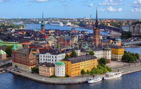 Stockholm şehir gökyüzü yaz ufuk çizgisi bulut Stok fotoğraf © mikdam