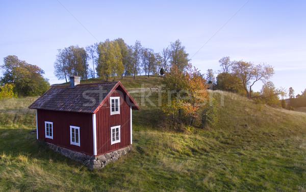 Oude houten huis Zweden landschap veld Stockfoto © mikdam