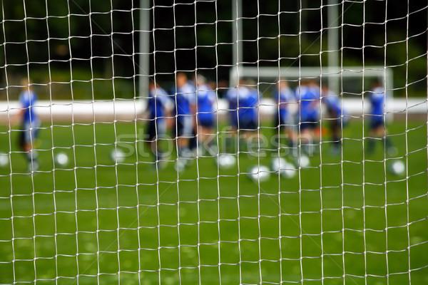 Doel net speler gras voetbal sport Stockfoto © mikdam
