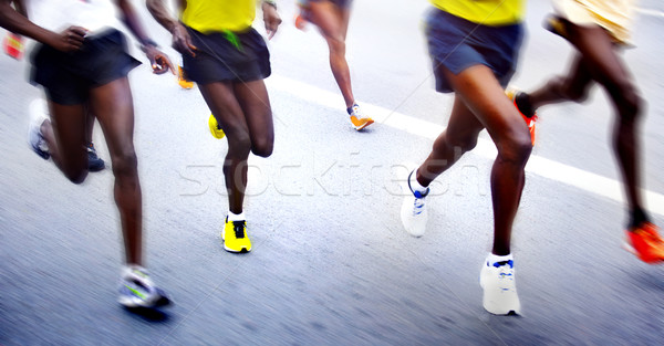 Maraton futók bemozdult út sport utca Stock fotó © mikdam
