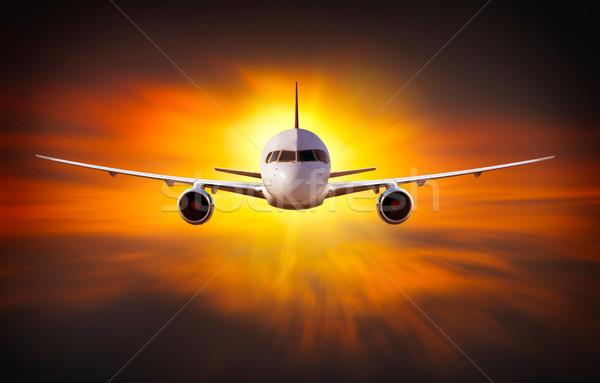Avión nubes tecnología viaje Foto stock © mikdam