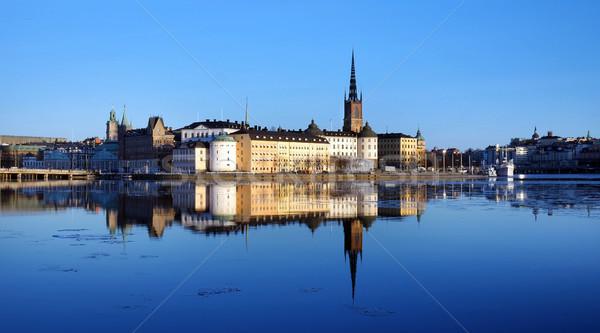 Stockholm İsveç gökyüzü Bina manzara Stok fotoğraf © mikdam