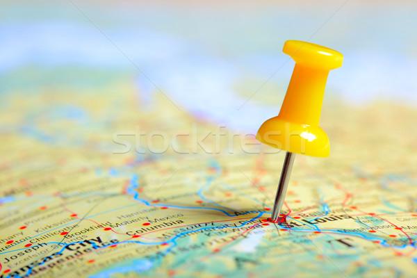 Pin карта путешествия Америки Сток-фото © mikdam