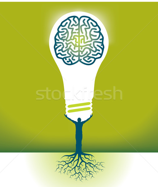 Abstract Vector Man-Brain-Bulb Background Stock photo © mike301
