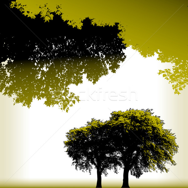 Four Tree Landscape Vector background Stock photo © mike301