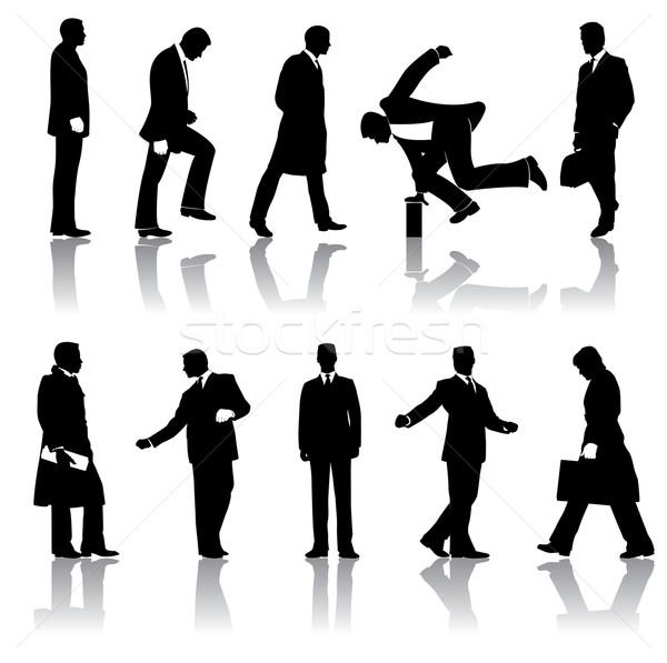 Tíz üzletemberek sziluettek vektor újság terv Stock fotó © mike301