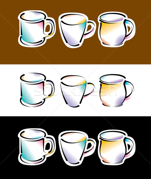 Six coffee cups Stock photo © mike301