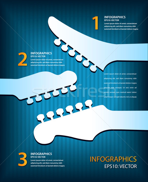 An infographic music guitar vector background in blue Stock photo © mike301