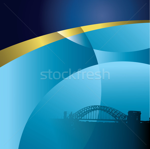 An abstract vector city, sky background with a bridge Stock photo © mike301
