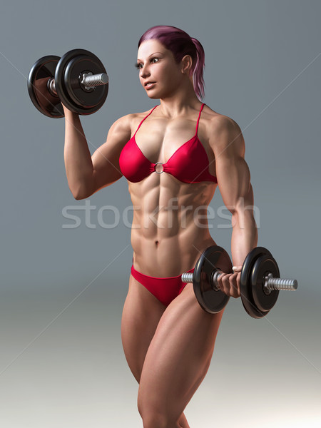 body building woman Stock photo © mike_kiev