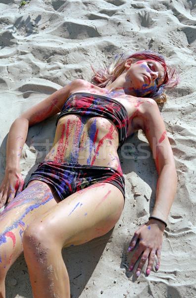 Genç kadın boya plaj seksi çöl güzellik Stok fotoğraf © mike_kiev