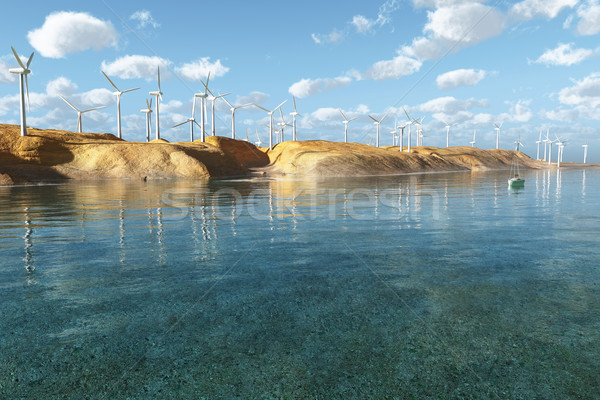 Wind Turbines in the seascape Stock photo © mike_kiev