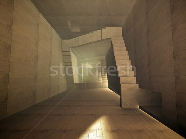 Aşağı merdiven iç mimari beton korku Stok fotoğraf © mike_kiev