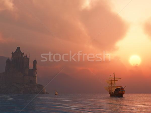 Stock photo: ancient vessel at sunrise