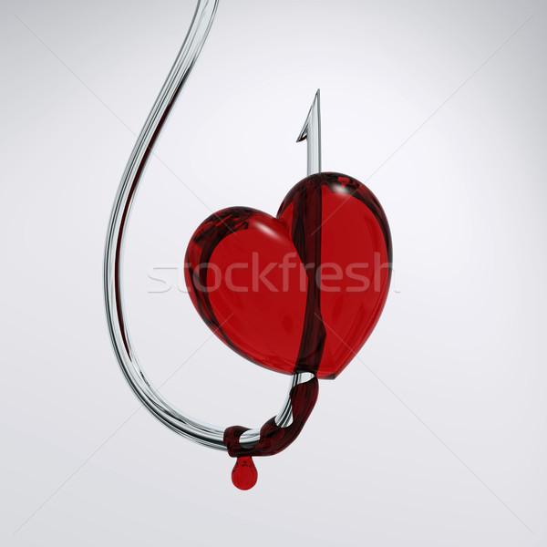 Bloody Herz Haken Schmerzen weiß Romantik Stock foto © mike_kiev