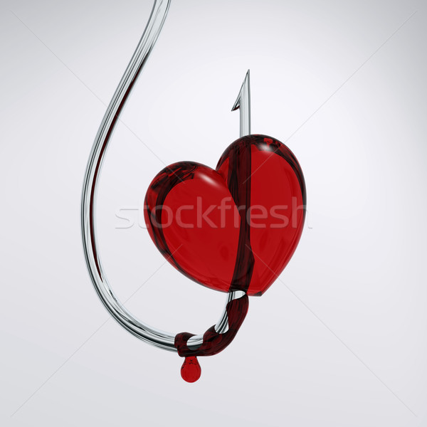 Sangrento coração gancho dor branco romance Foto stock © mike_kiev