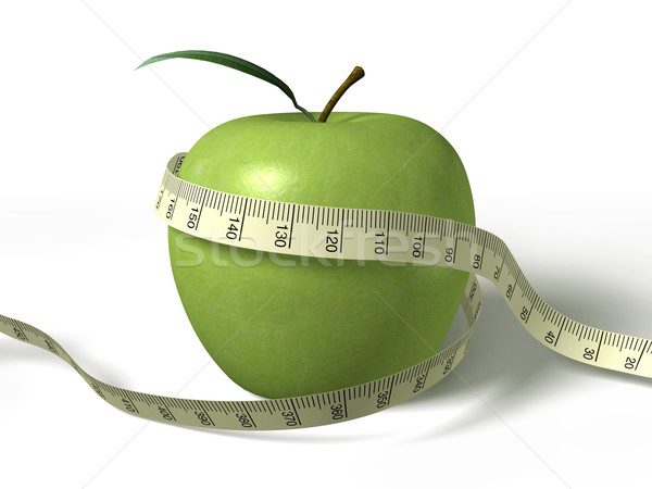 Stock photo: tape measure wrapped around the green apple