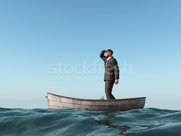 Stockfoto: Verloren · man · boot · business · zee · Blauw