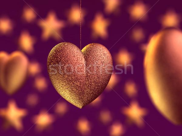 Kalp dekorasyon valentine parti soyut turuncu Stok fotoğraf © mike_kiev