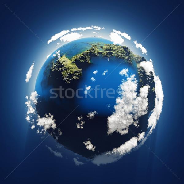 Pequeño azul planeta nubes luz Foto stock © mike_kiev