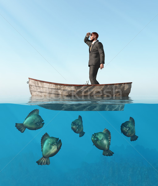 Stock photo: lost man in a boat