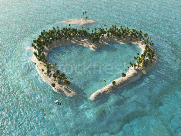 aerial view of heart-shaped tropical island Stock photo © mike_kiev