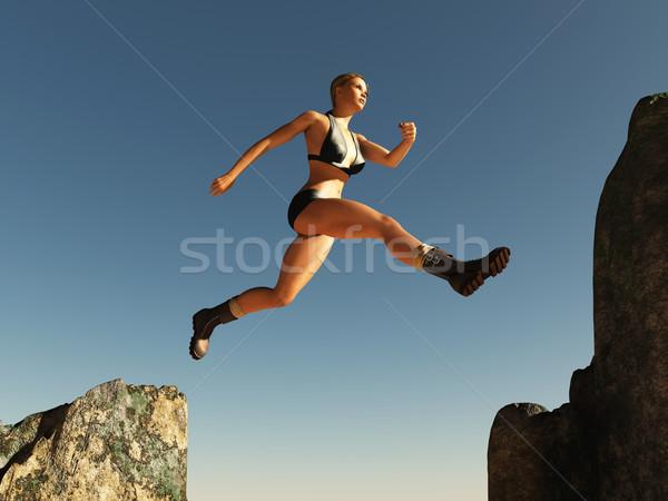 女性 ジャンプ 合格 空 幸せ スポーツ ストックフォト © mike_kiev
