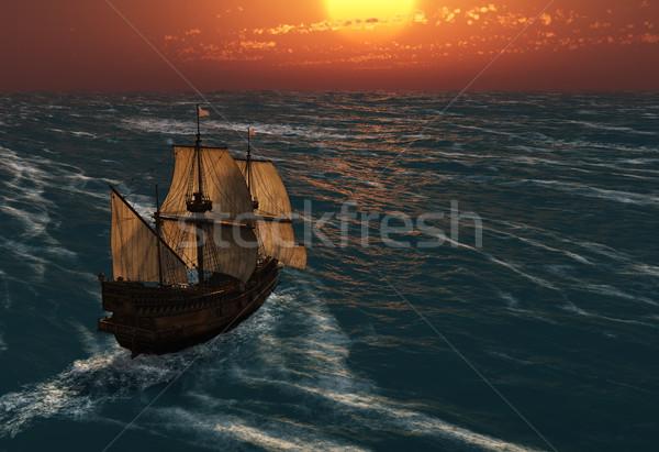 Középkori vitorla hajó csónak klasszikus vitorlázik Stock fotó © mike_kiev