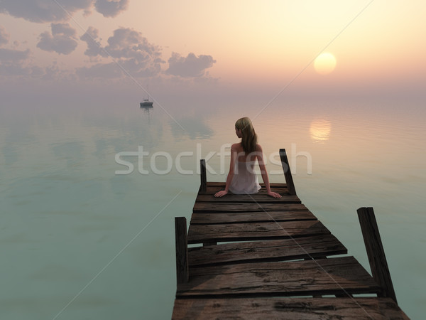 woman sitting on pier at sunrise Stock photo © mike_kiev