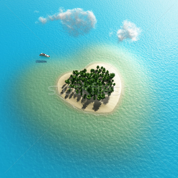 heart-shaped tropical island  Stock photo © mike_kiev