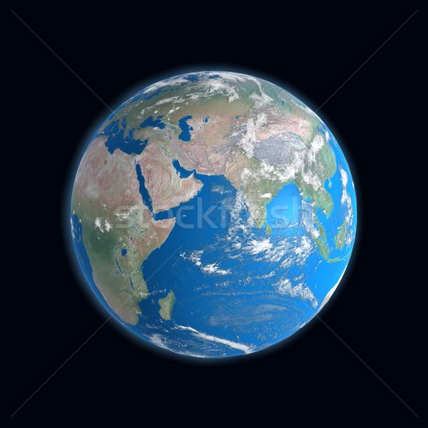 Stockfoto: Hoog · gedetailleerd · aarde · kaart · afrika · asia