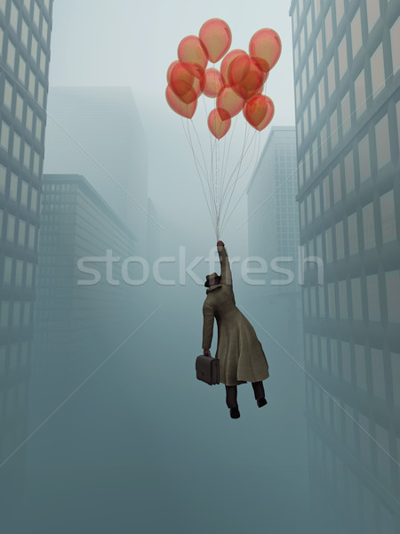 businessman soaring on balloon in city Stock photo © mike_kiev