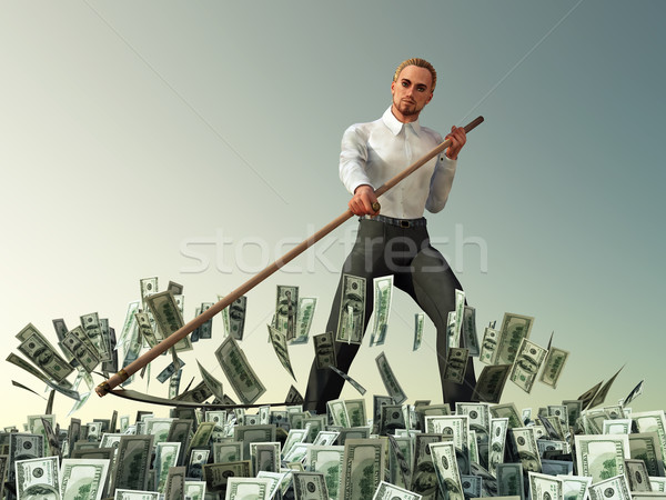 businessman mowing scythe money Stock photo © mike_kiev