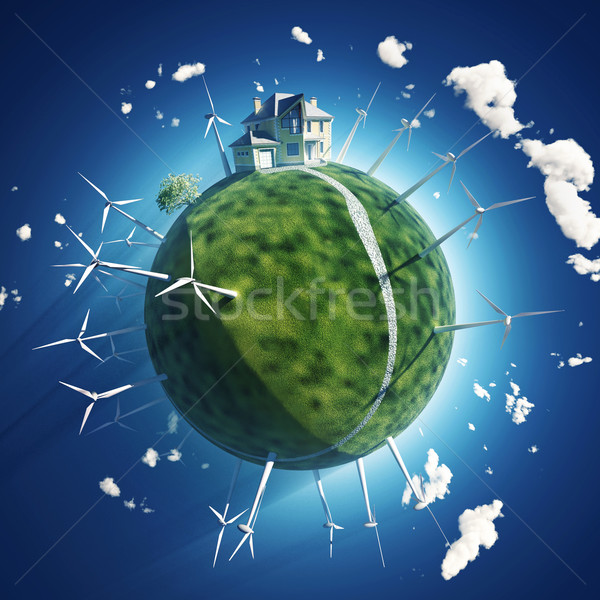 house and wind turbine on green planet Stock photo © mike_kiev