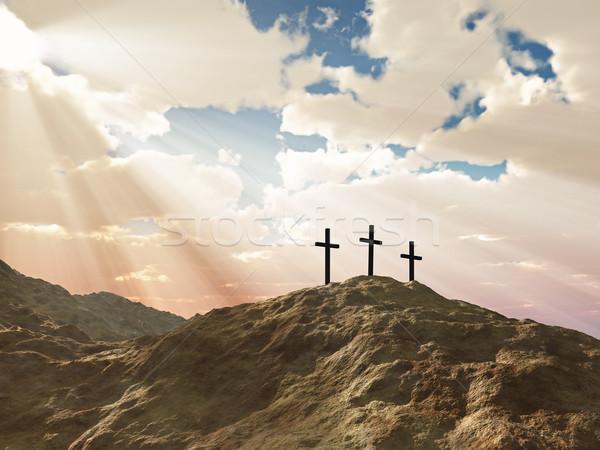 Três atravessar colina montanha jesus morte Foto stock © mike_kiev