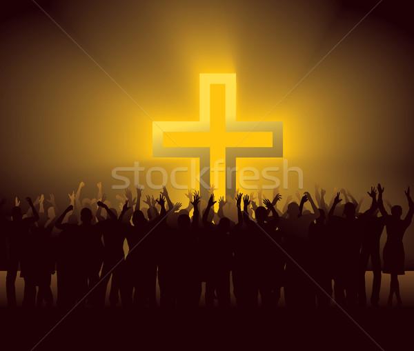 Gruppe Menschen herum glühend Kreuz Menge jesus Stock foto © mike_kiev