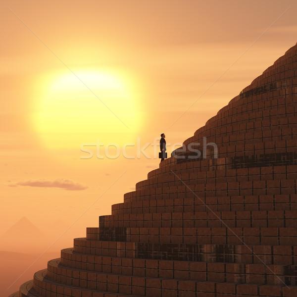 Empresário escada deserto nascer do sol sucesso Foto stock © mike_kiev