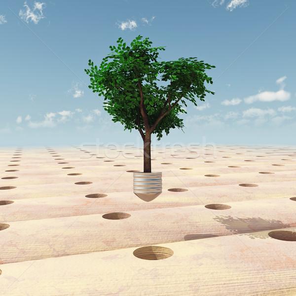 Baum Natur Wüste Erde Industrie Zukunft Stock foto © mike_kiev