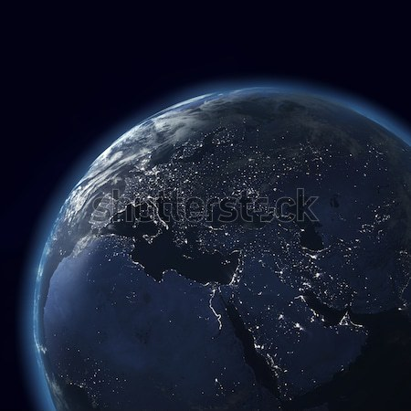 night globe with city lights, asia, europe, africa, arabia Stock photo © mike_kiev