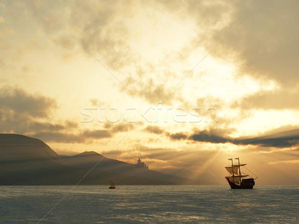 ancient vessel at sunrise Stock photo © mike_kiev
