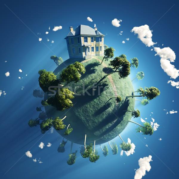 Ev küçük gezegen iş gökyüzü Bina Stok fotoğraf © mike_kiev