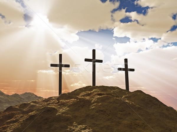 Trzy krzyż Hill górskich Jezusa śmierci Zdjęcia stock © mike_kiev