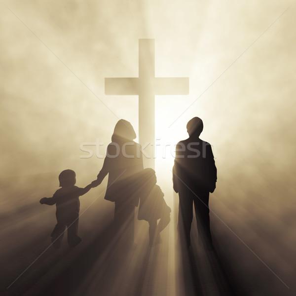 Rodziny krzyż kobieta miłości świetle Jezusa Zdjęcia stock © mike_kiev